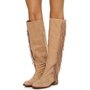 Sam Edelman Josephine Leather Nubuck Fringe Boots